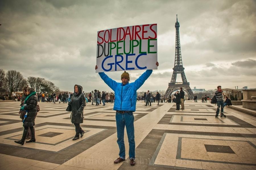 Manifestation en solidarité avec la Grèce, Paris.