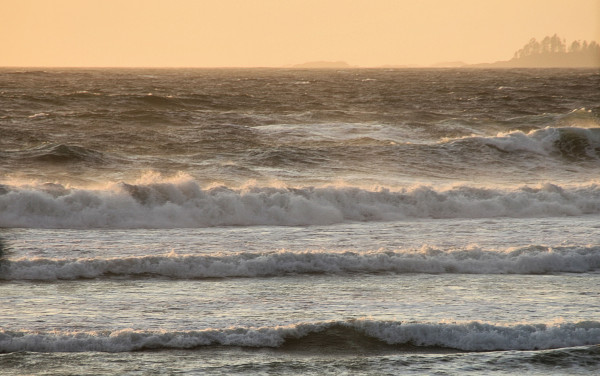 Crashing Waves kissed by the evening sun