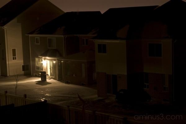 back yard light on at night