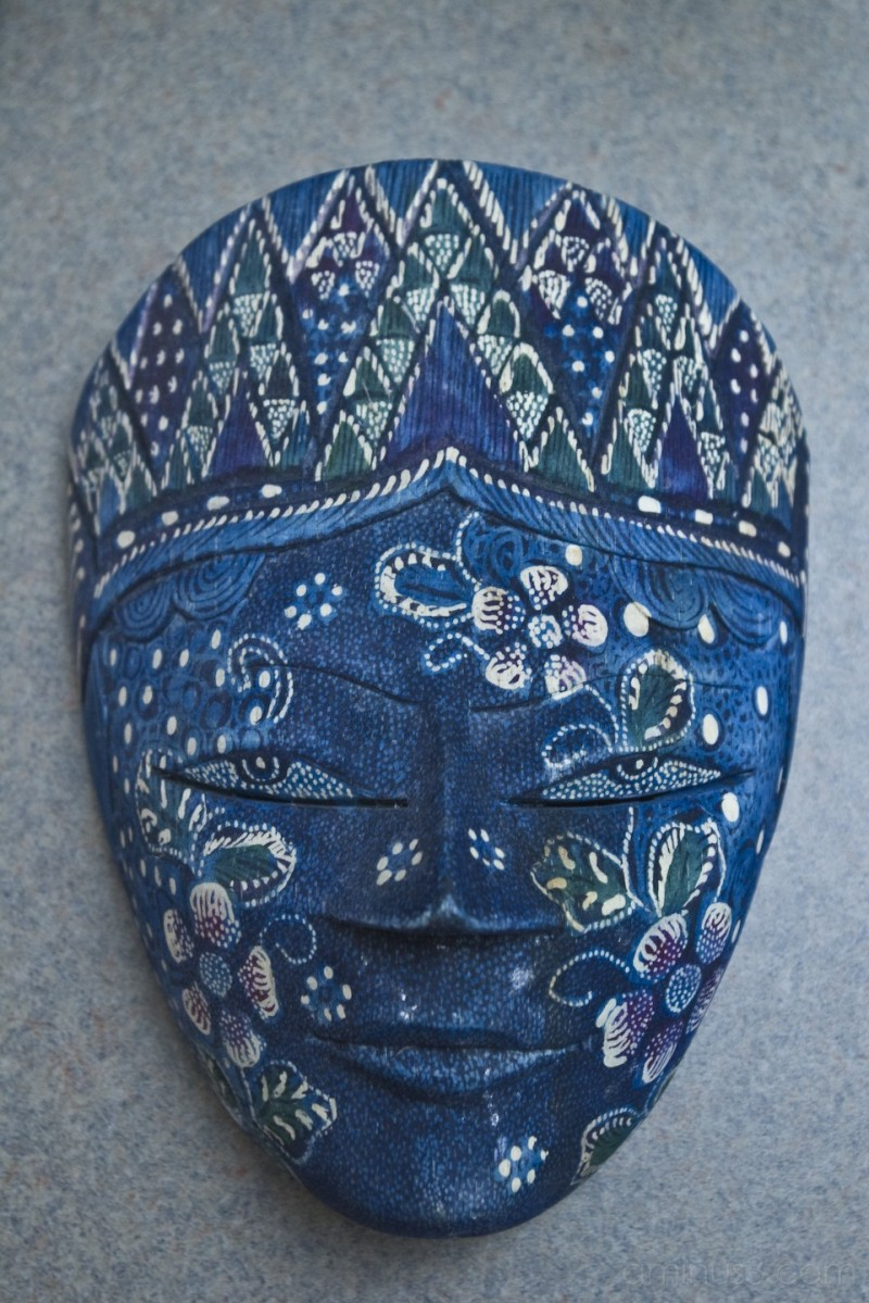 close up of blue face mask