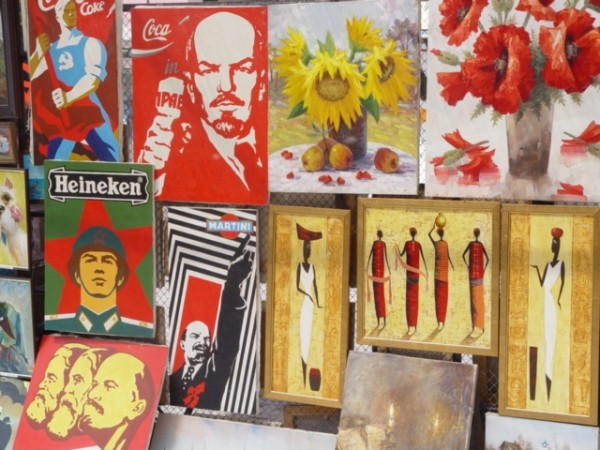 Posters and Paintings in a Moscow Street