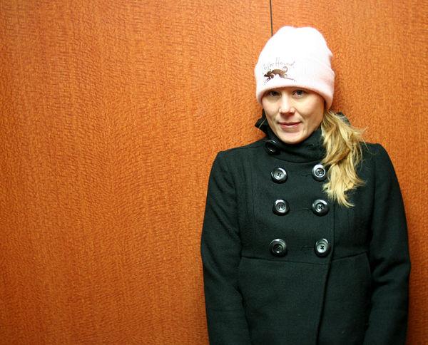 Lynette Wearing Pink in the Elevator