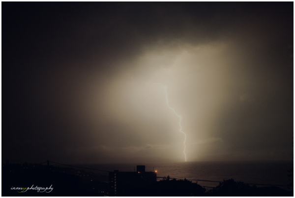 lightning storm over the ocean