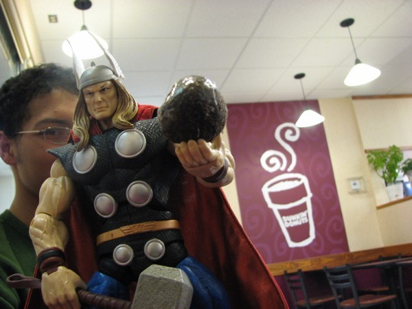 Thor and Evan contemplate a donut hole