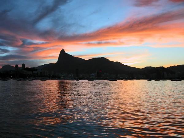 Corcovado at sunset of Rio de Janeiro from URCA