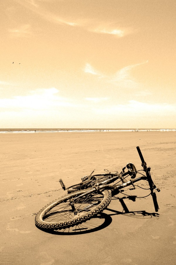 Bike left on beach