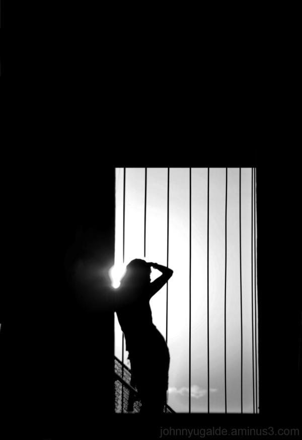 woman at backlight