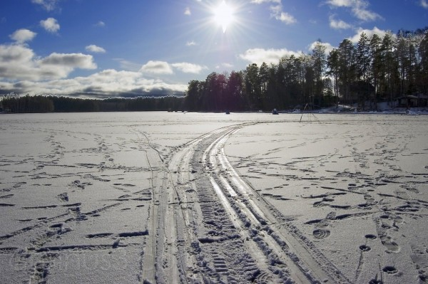 Marks on the frozen lake