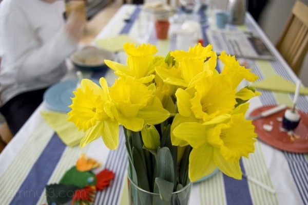 Breakfast at Good Friday (with daffodils)