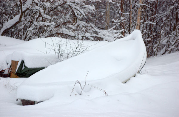 A boat full of snow