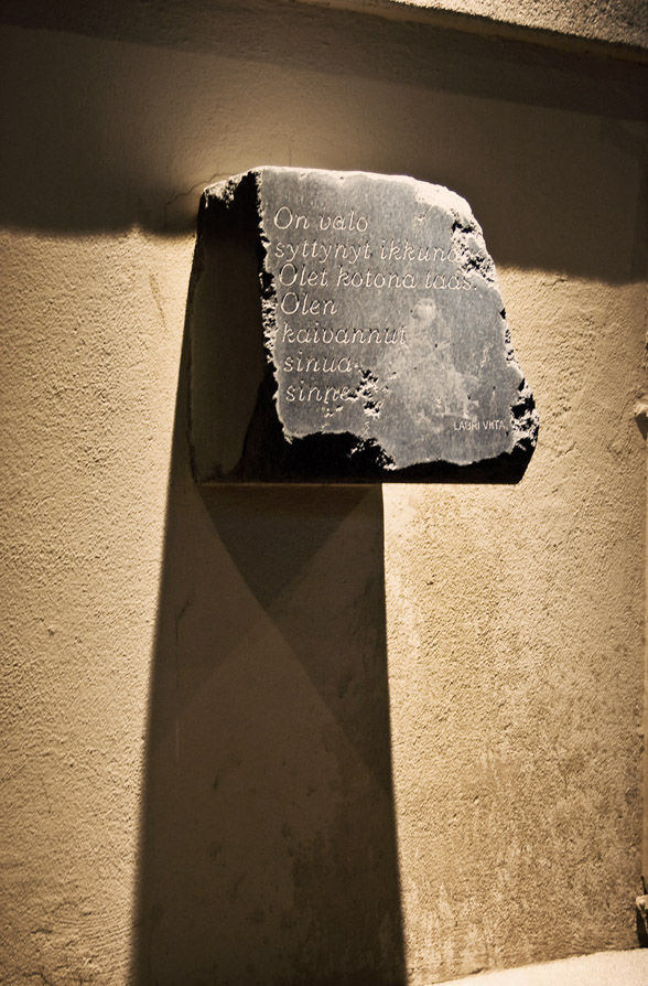 Light and shadows and a poem in stone