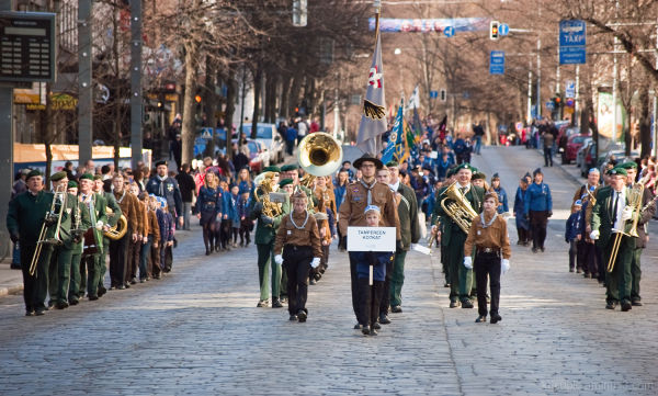 Marching with band