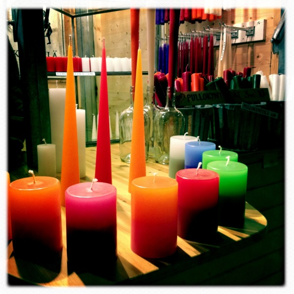 colorful handmade candles