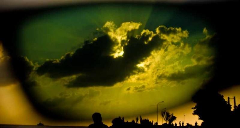 sun behind shades ...
