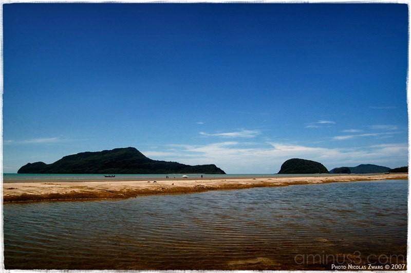 Postcard of Prachuap Khiri Khan beach, Thailand.