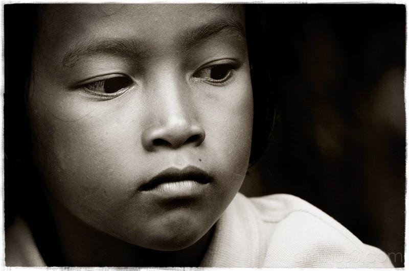 Child Portrait in Black & White, Thailand.