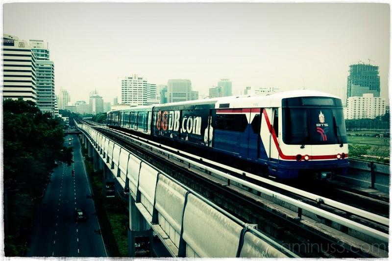 Bangkok skytrain perspective shot.