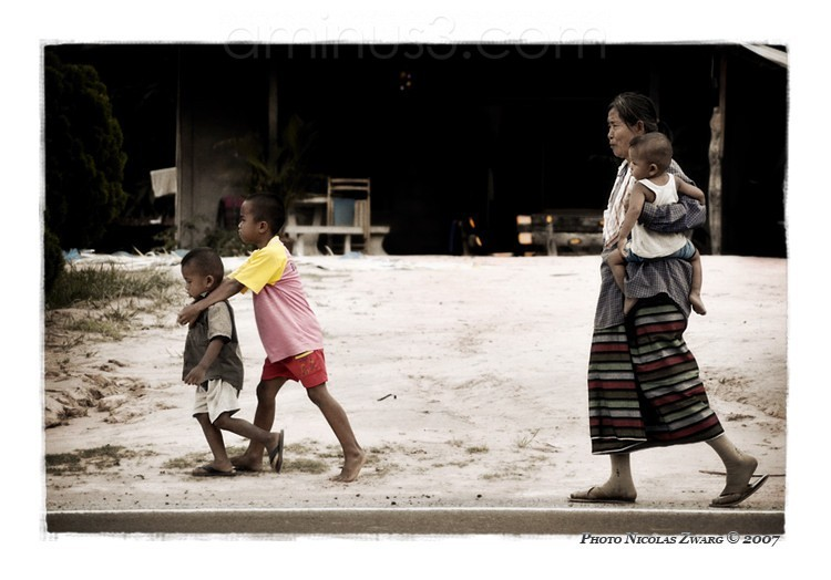 Family in the morning, Isaan, Thailand.
