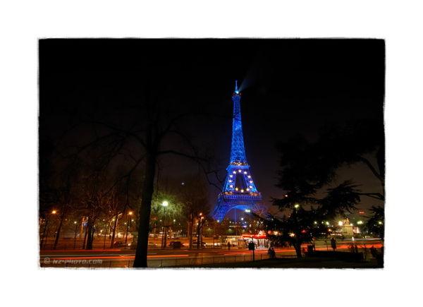 Eiffel Tower blue like europe