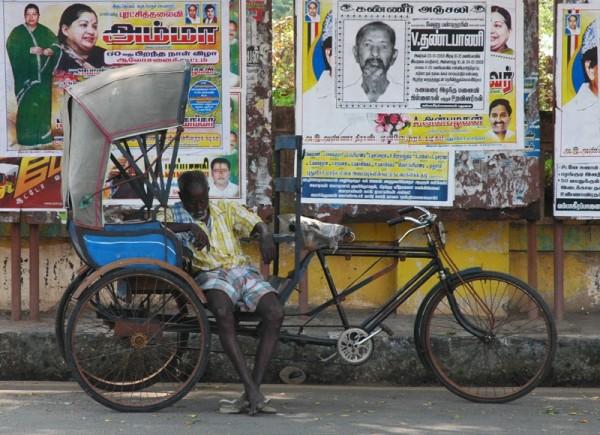 Sleeping rickshaw Driver Pondicherry India