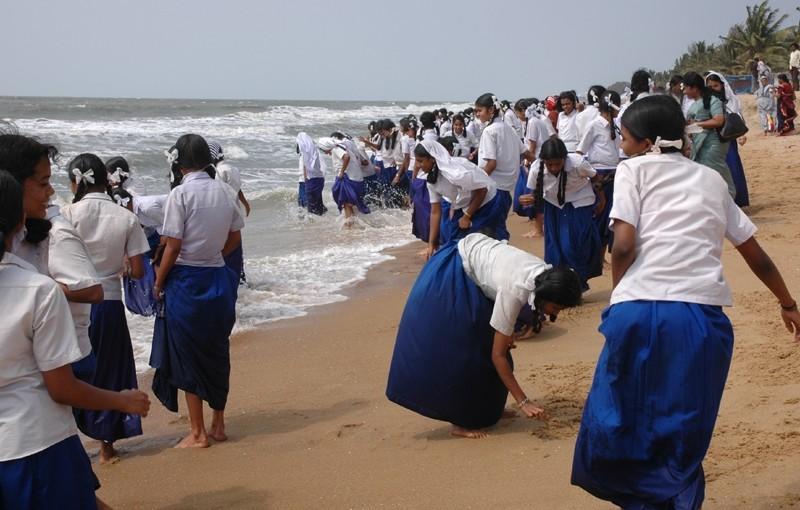 Schoolgirls Paddling Cherai Beach Kerela India