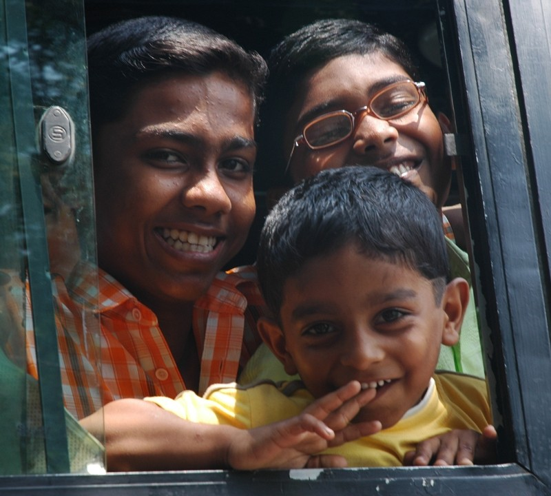 Boys on Bus Fort Kochi Kerela South India