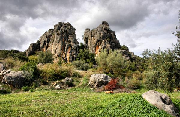 Limestone pillars Comares Axarquia Spain