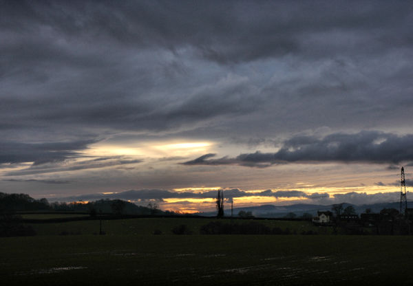 Winter Sunset Ludlow Shropshire UK