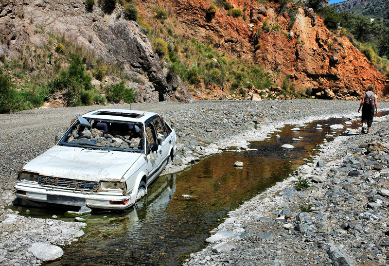 Car River Bed Comares Axarquia Spain