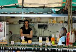 Cheese stall Ludlow Market Shropshire UK