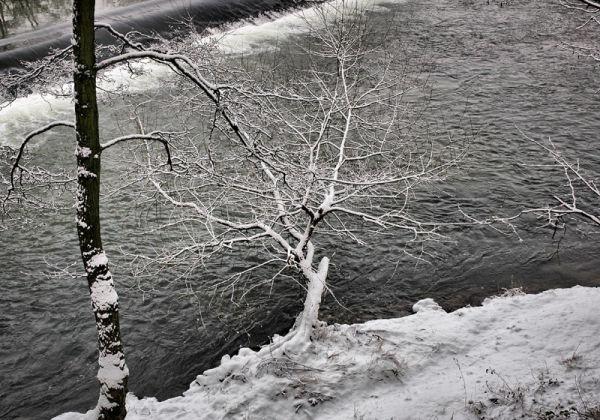 Weir Snow Ludlow Shropshire UK