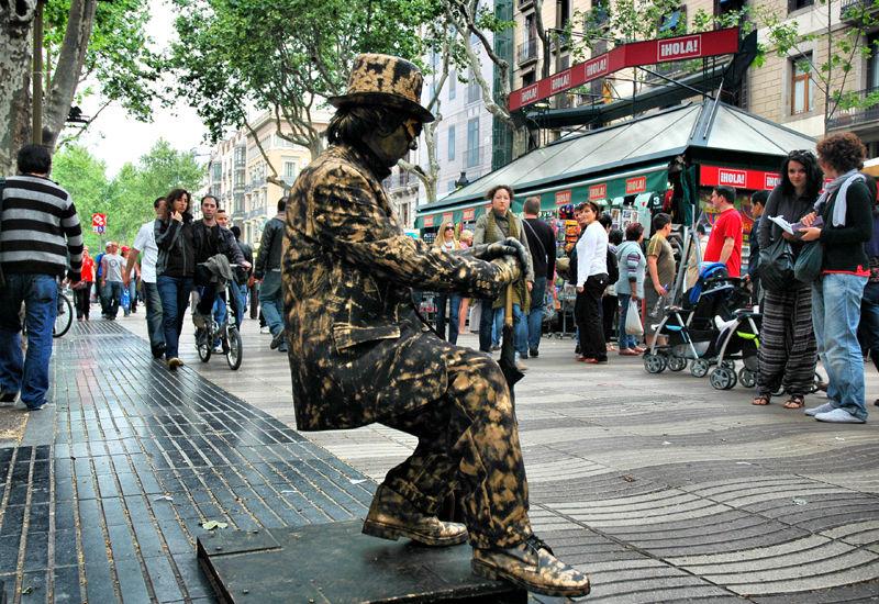 Gravity defied La Rambla Barcelona Spain