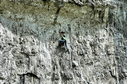 Climber Malham Cove Yorkshire Dales UK