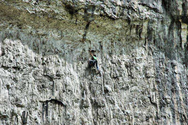 Climber Malham Cove Yorkshire Dales UK