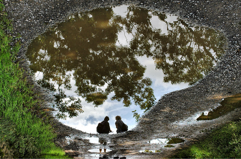 Sisters Reflection Askrigg Yorkshire UK