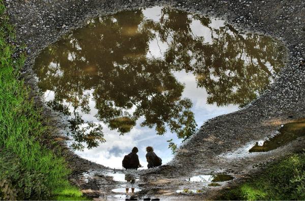 Sisters Reflection Askrigg Yorkshire UK