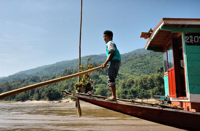 Boat Boy Mekong Laos