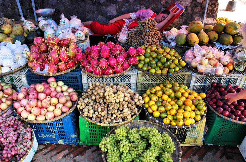 Fruit and Veg stall Luang Prabang  Laos