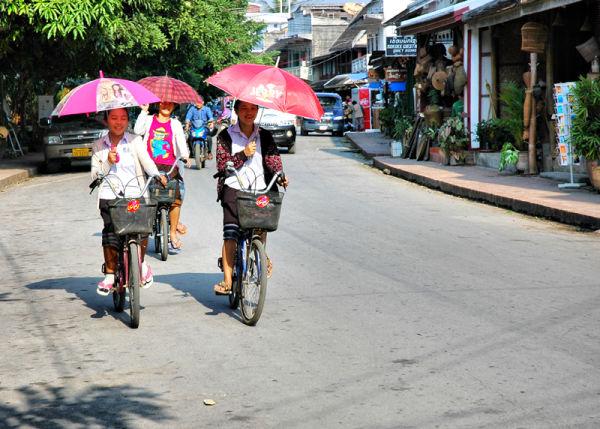 Parasol Schoolgirls  Luang Prabang  Laos