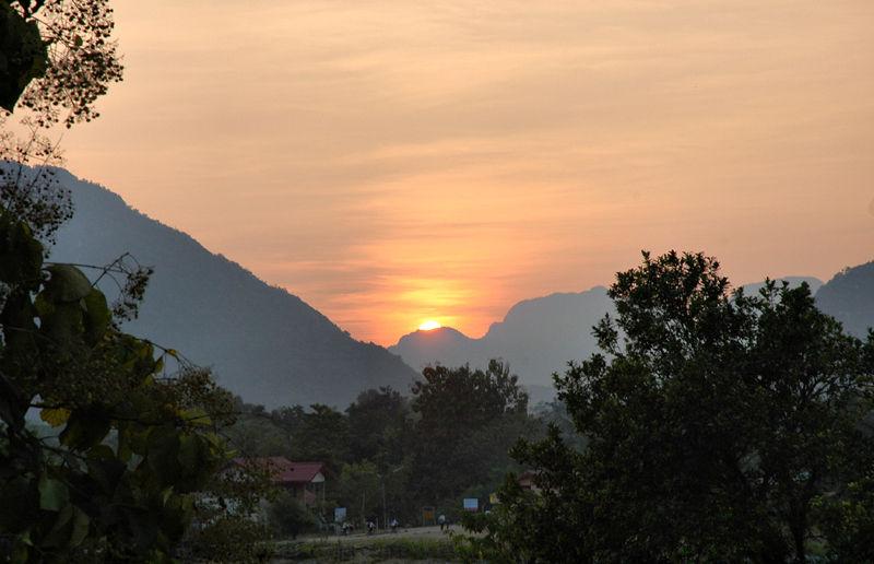 Karst Limestone sunset Vang Vieng Laos