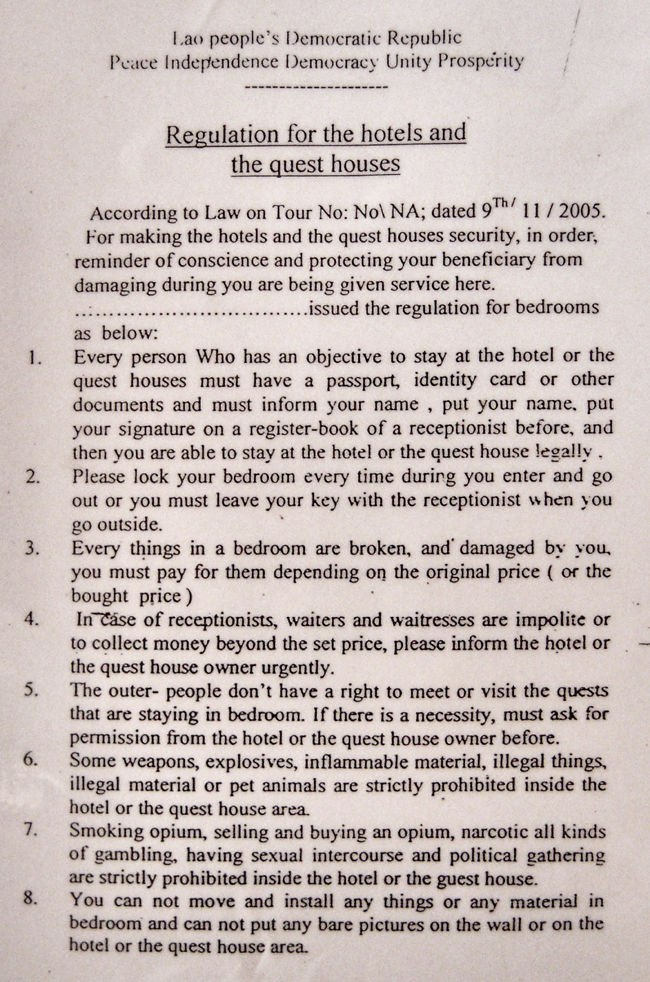 Hotel Rules Vang Vieng Laos