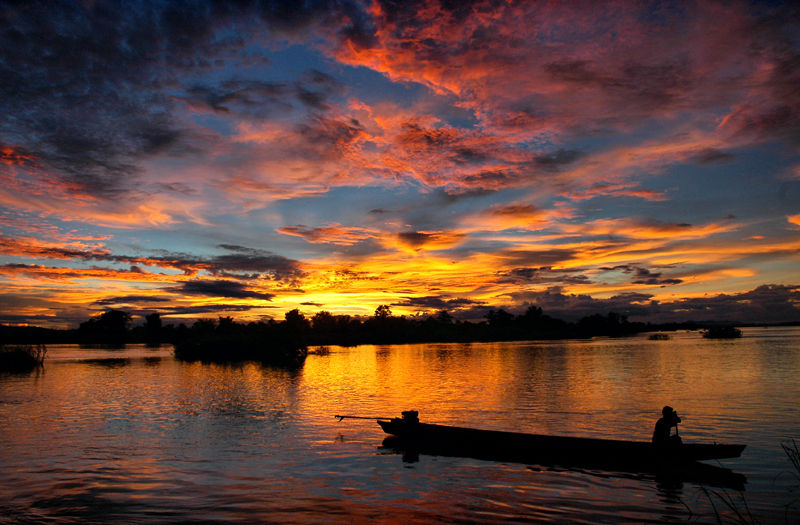Don Dek Mekong Four Thousand Islands Laos Sunset