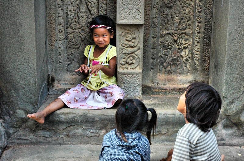Chidren Angkor Temple Cambodia