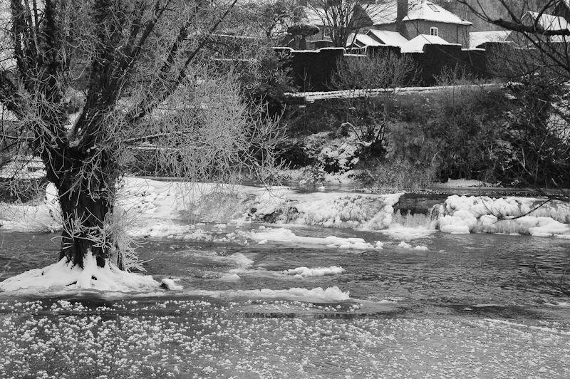Frozen River Teme ludlow Shropshire UK