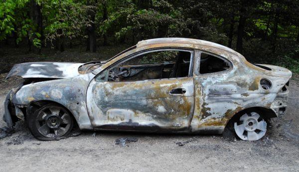 Burnt out car Somerset UK