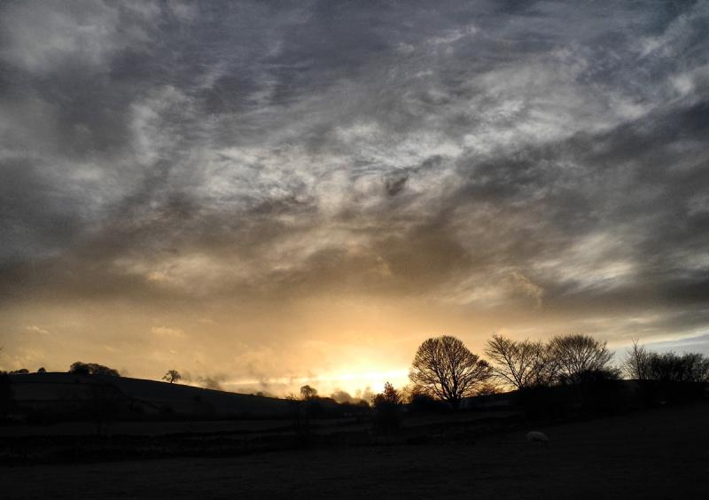 Winter Sunset Shropshire UK