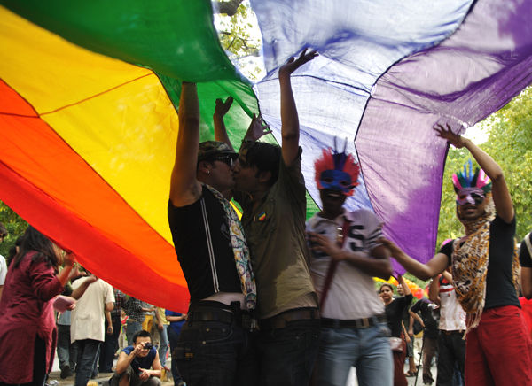 a gay couple at the queer pride parade, new delhi