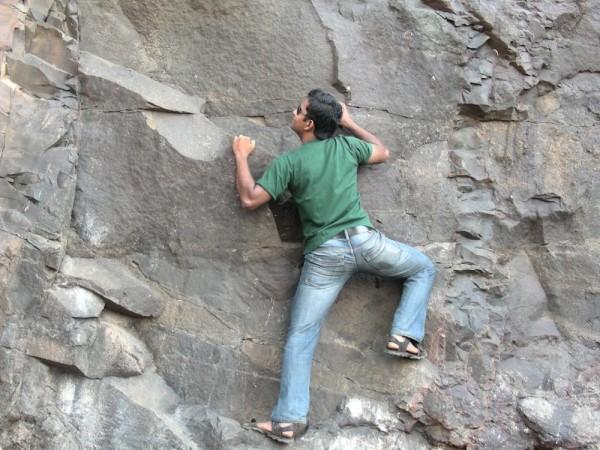 Climbing the cliff..