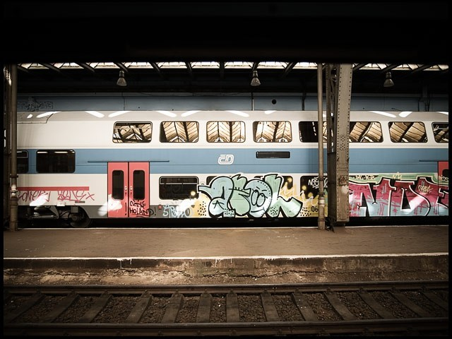Graffitti at central station. Prague.