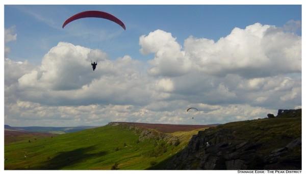 Paraglider above Stannage Edge, The Peak Distrct.